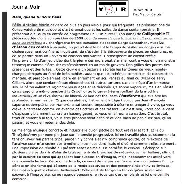 Journal VOIR - Félix-Antoine Morin