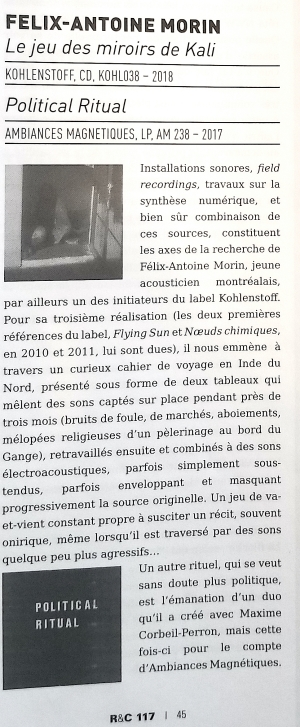 Revue & Corrigée, France, sept 2018 - le jeu des miroirs de kali - félix-antoine morin